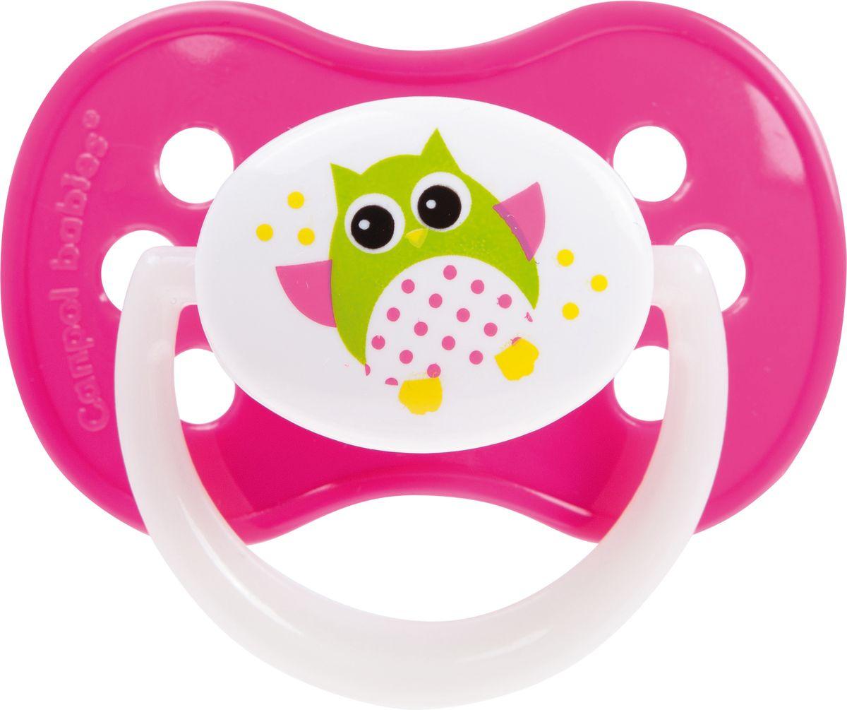 Canpol Babies Пустышка силиконовая симметричная Owl от 0 до 6 месяцев цвет розовый canpol babies силиконовая зубная щетка от 6 мес canpol babies в ассорт
