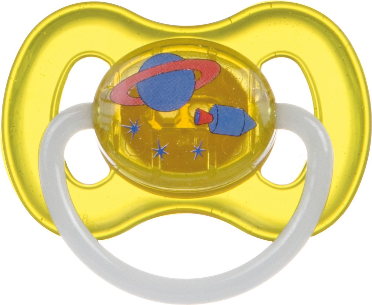 Canpol Babies Пустышка силиконовая круглая Space от 0 до 6 месяцев цвет желтый