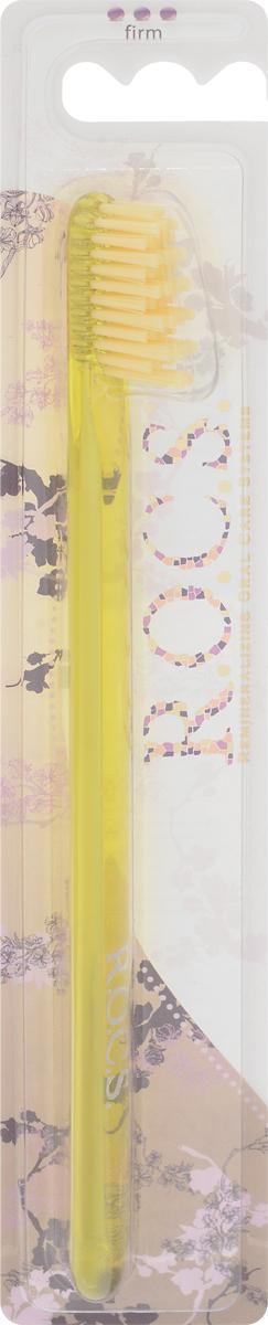 R.O.C.S. Зубная щетка модельная, жесткая, цвет: желтый32700425_желтыйМодельная зубная щетка R.O.C.S. разработана при участии стоматологов.Нетрадиционная скошенная подстрижка щетины обеспечивает: Эффективную чистку: качественное удаление зубного налета и поверхностных окрашиваний; Высокое качество очистки труднодоступных участков зубного ряда; Легкий доступ к дальним зубам.Тонкая ручка предотвращает излишнее давление при чистке. Высококачественная щетина разной высоты имеетзакругленные и отполированные на концах текстурированные щетинки, которые обеспечивают быстрое и интенсивноеочищениеблагодаря увеличенной очищающей поверхности и особенностям аквадинамики волокна. Товар сертифицирован.