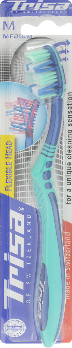 Trisa Зубная щетка Flexible Head, средняя жесткость, цвет: зеленый, синий517429_зеленый, синийЗубная щетка Trisa Flexible Head средней степени жесткости произведена в Швейцарии в соответствии с новейшиминаучными разработками. Поделенное на три сектора многоуровневое щеточное поле имеет активный выступ вверхней части и двойные подвижные пучки щетинок.Гибкая головка позволяет избежать излишнего давления на зубы и десны во время чистки. Эффективна при чисткетруднодоступных коренных зубов. Особое расположение щетинок позволяет очищать зуб одновременно с трех сторон.Удобная, эргономичная ручка.