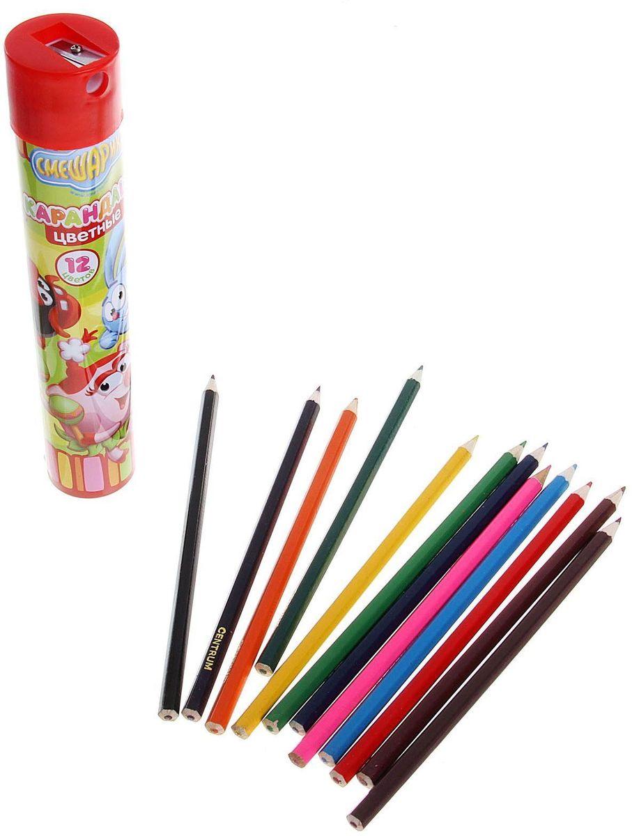 Смешарики Набор карандашей с точилкой 12 цветов104077Набор Смешарики  состоит из 12 деревянных цветных карандашей, которые откроют юным художникам новые горизонты для творчества, а также помогут отлично развить мелкую моторику рук, фантазию и воображение. Все карандаши упакованы в пластиковый тубус с крышкой-точилкой.