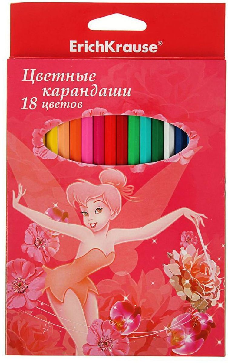 Disney Набор карандашей Tink Pink 18 цветов карандаши bruno visconti набор карандашей цветных disney белоснежка 6 цветов
