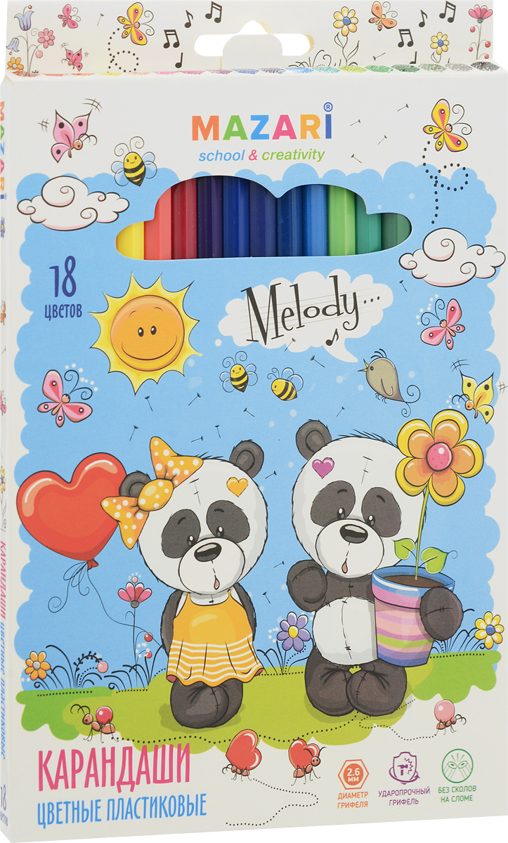 Mazari Набор цветных карандашей Melody 18 цветовМ-6119-18Карандаши цветные Mazari Melody предназначены для письма, рисования и черчения.Карандаши имеют шестигранную форму, диаметр грифеля - 2,6 мм.В наборе 18 карандашей ярких цветов. Уважаемые клиенты! Обращаем ваше внимание на возможные изменения в дизайне упаковки. Качественные характеристики товара остаются неизменными. Поставка осуществляется в зависимости от наличия на складе.