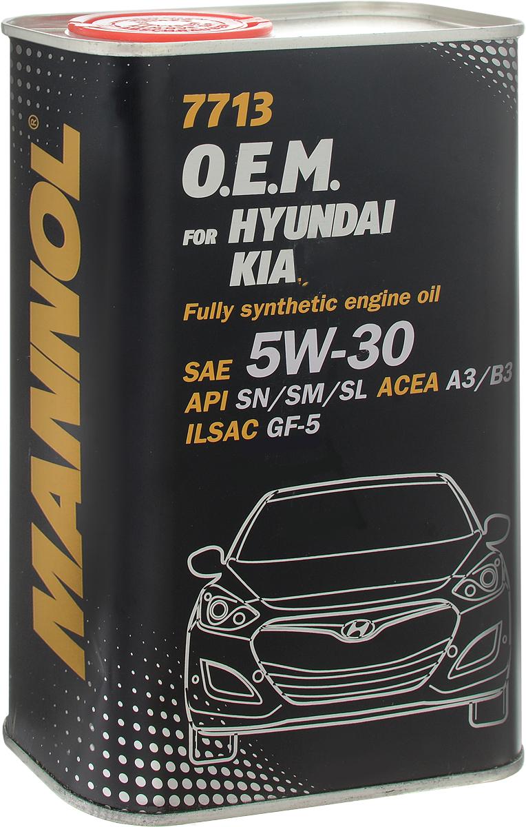 Моторное масло MANNOL 7713 O.E.M., для Hyundai и KIA, 5W-30, синтетическое, 1 л4056Моторное масло MANNOL 7713 O.E.M. - современное синтетическое энергосберегающее моторное масло, предназначенное для двигателей автомобилей HYUNDAI и KIA с турбонаддувом и без него. Разработано специально для обеспечения устойчивой работы двигателей с механизмами изменения фаз газораспределения CVVT, начиная с моделей двигателей 2L Beta I4 (автомобили Hyundai Elantra и Kia Spectra с 2005 года выпуска), Alpha II DOHC (автомобили Hyundai Accent/Verna, Tiburon/Coupe, Kia ceed с 2006 года выпуска). Эффективно защищает от износа и обеспечивает исключительную чистоту деталей двигателя. Синтетическая основа масла гарантирует легкий холодный пуск даже при экстремально низких температурах. Совместимо со всеми системами очистки выхлопных газов. Создано с учетом требований для эксплуатации в тяжелых условиях и увеличенных интервалов техобслуживания. Продукт имеет допуски / соответствует спецификациям / продуктам:SAE 5W-30API SN/SM/SLACEA A3ILSAC GF-5/GF-4/GF-3
