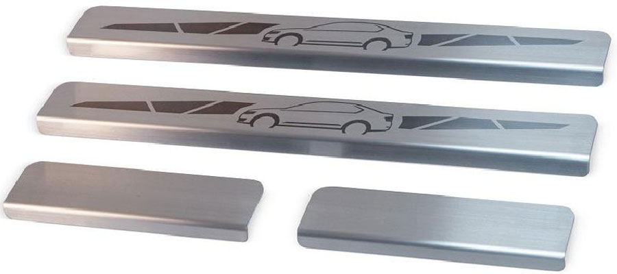 Накладки на пороги Автоброня, для Renault Duster 2012-, 4 штNPREDUS011Накладки на пороги Автоброня создают индивидуальный интерьер автомобиля и защищают лакокрасочное покрытие от механических повреждений.Особенности:- Использование высококачественной итальянской нержавеющей стали AISI 304 (толщина 0,5 мм).- Надежная фиксация на автомобиле с помощью скотча 3М серии VHB.- Устойчивое к истиранию изображение на накладках нанесено методом абразивной полировки.- Идеально повторяют геометрию порогов автомобиля.- Легкая и быстрая установка.В комплект входят 4 накладки (2 передние и 2 задние).