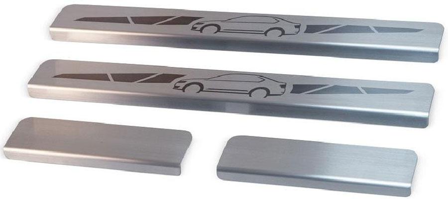 Накладки на пороги Автоброня, для Skoda Rapid 2014-, 4 шт. NPSKRAP011NPSKRAP011Накладки на пороги Автоброня создают индивидуальный интерьер автомобиля и защищают лакокрасочное покрытие от механических повреждений.Особенности:- Использование высококачественной итальянской нержавеющей стали AISI 304 (толщина 0,5 мм).- Надежная фиксация на автомобиле с помощью скотча 3М серии VHB.- Устойчивое к истиранию изображение на накладках нанесено методом абразивной полировки.- Идеально повторяют геометрию порогов автомобиля.- Легкая и быстрая установка.В комплект входят 4 накладки (2 передние и 2 задние).