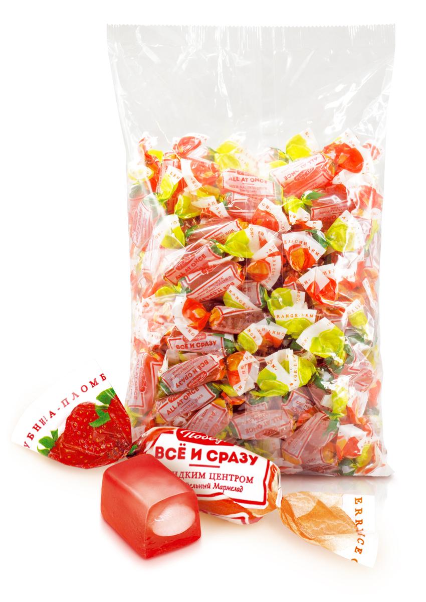 Победа вкуса Все и сразу: клубника-пломбир жевательный мармелад и конфеты желейные с начинкой, 1 кг079Фруктовая серия мягкого, современного и ароматного жевательного мармелада с оболочкой и начинкой, приготовленными из разных фруктов, в сочетании усиливающие вкус друг друга. По вкусу напоминает изысканный десерт - фруктовое желе. Содержит только натуральный фруктовый пектин. Фруктовый микс. Три вида фруктово-ягодных сочетаний в одной упаковке!