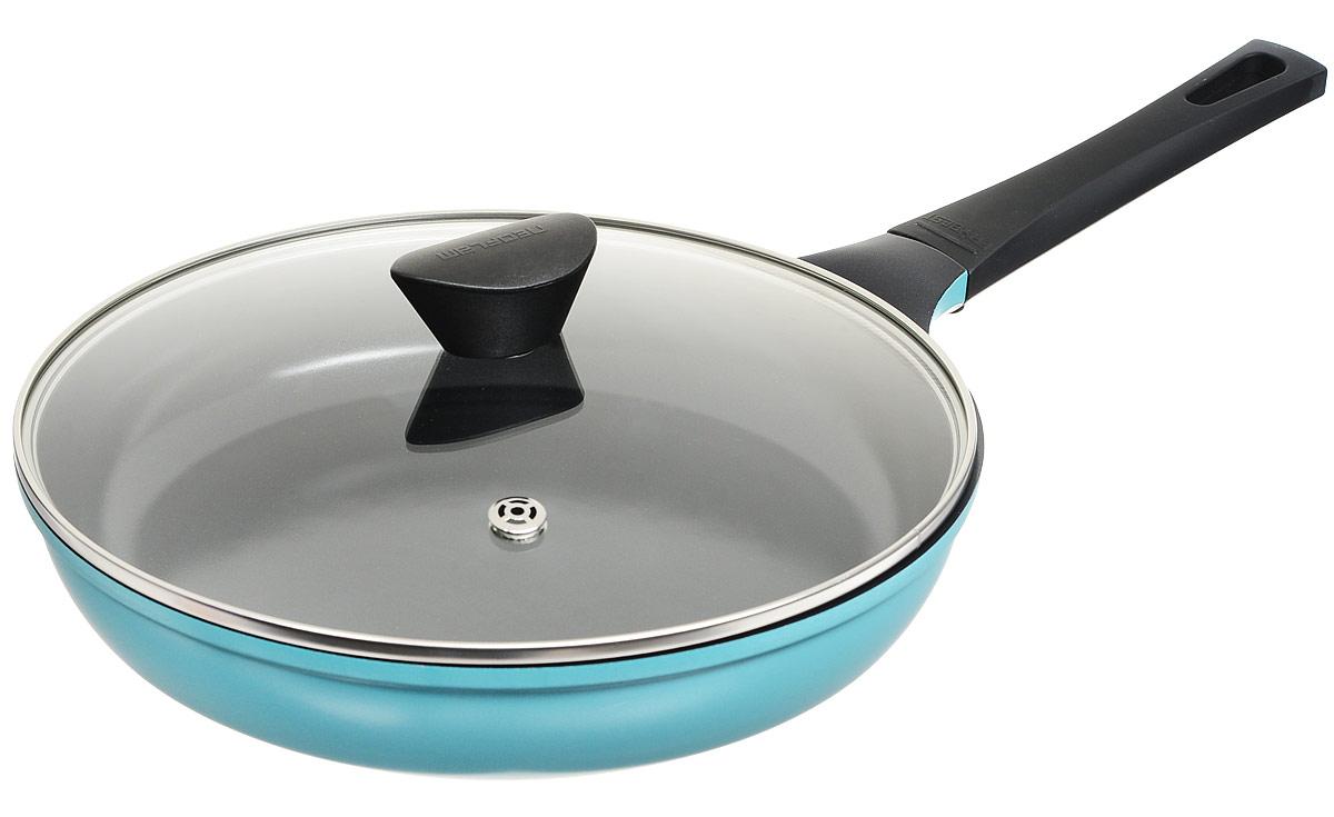 Сковорода Frybest Skin, 28 см, цвет: синий. CM-F28IK + Крышка в ПОДАРОК