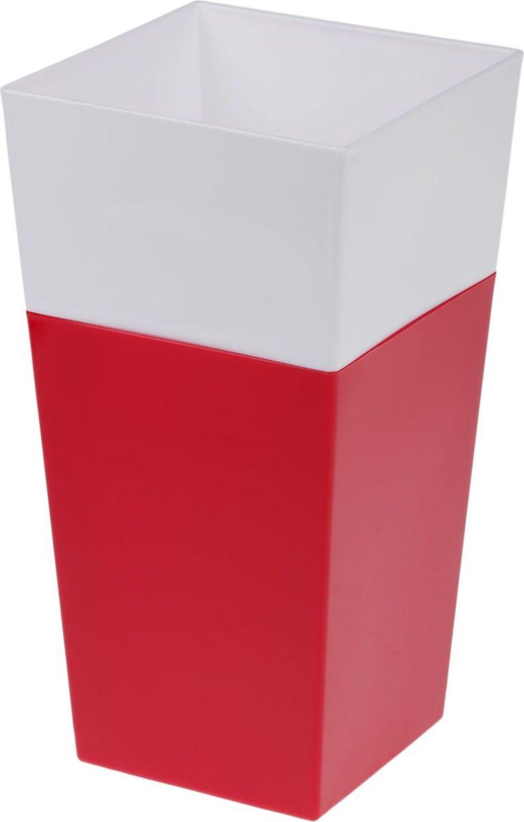 Кашпо JetPlast Дуэт, цвет: красный, белый, высота 26 см4612754052073Кашпо имеет строгий дизайн и состоит из двух частей: верхней части для цветка и нижней – поддона. Конструкция горшка позволяет, при желании, использовать систему фитильного полива, снабдив горшок веревкой. Оно изготовлено из прочного полипропилена (пластика).Размеры кашпо: 13 x 13 x 26 см.