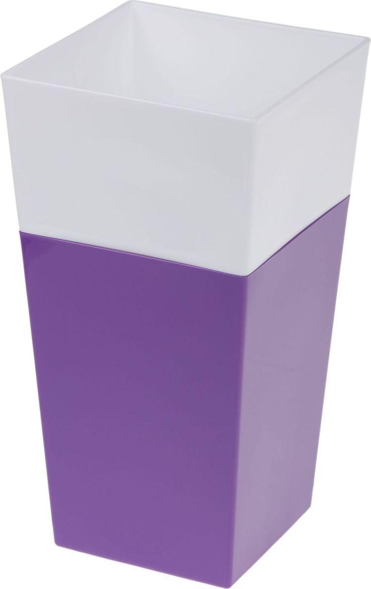 Кашпо JetPlast Дуэт, цвет: фиолетовый, белый, высота 26 см4612754052110Кашпо имеет строгий дизайн и состоит из двух частей: верхней части для цветка и нижней – поддона. Конструкция горшка позволяет, при желании, использовать систему фитильного полива, снабдив горшок веревкой. Оно изготовлено из прочного полипропилена (пластика).Размеры кашпо: 13 x 13 x 26 см.
