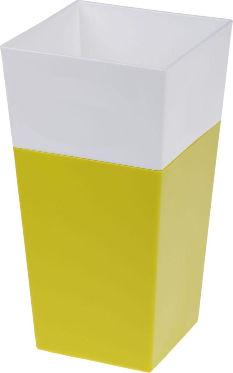 Кашпо JetPlast Дуэт, цвет: фисташковый, белый, высота 26 см4612754052059Кашпо имеет строгий дизайн и состоит из двух частей: верхней части для цветка и нижней – поддона. Конструкция горшка позволяет, при желании, использовать систему фитильного полива, снабдив горшок веревкой. Оно изготовлено из прочного полипропилена (пластика).Размеры кашпо: 13 x 13 x 26 см.