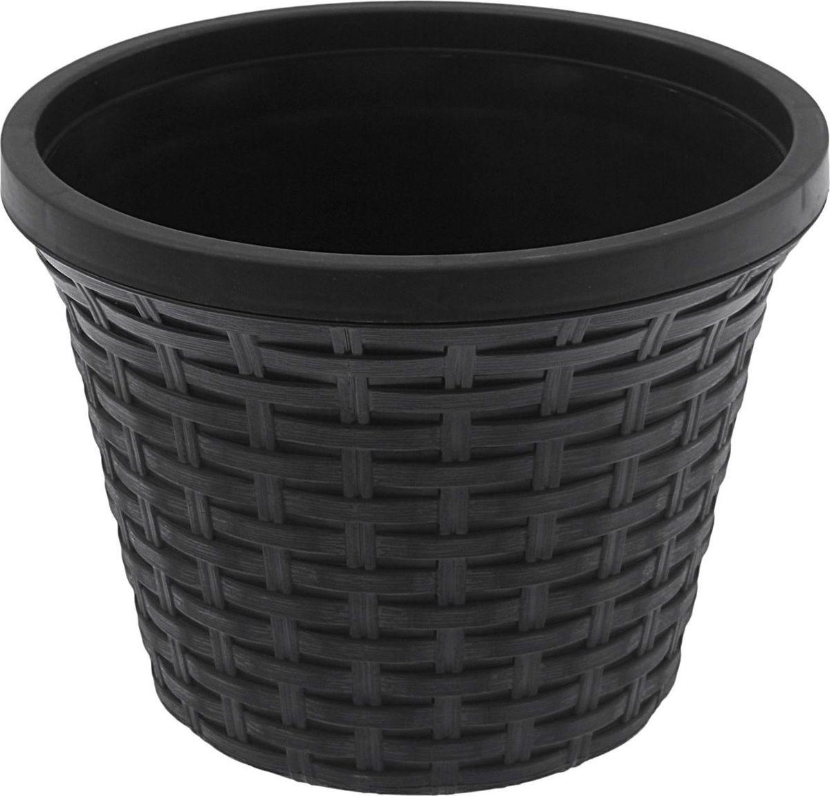 Кашпо Violet Ротанг, с дренажной системой, цвет: черный, 4,8 л32480/7Круглое кашпо Violet Ротанг изготовлено из высококачественного пластика и оснащено дренажной системой для быстрого отведения избытка воды при поливе. Изделие прекрасно подходит для выращивания растений и цветов в домашних условиях. Объем: 4,8 л.