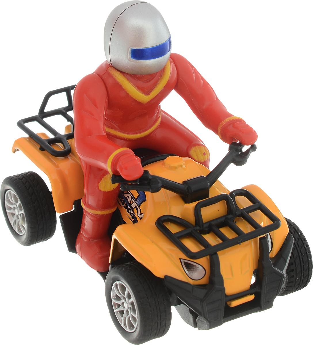 ТехноПарк Квадроцикл с фигуркой цвет красный оранжевый