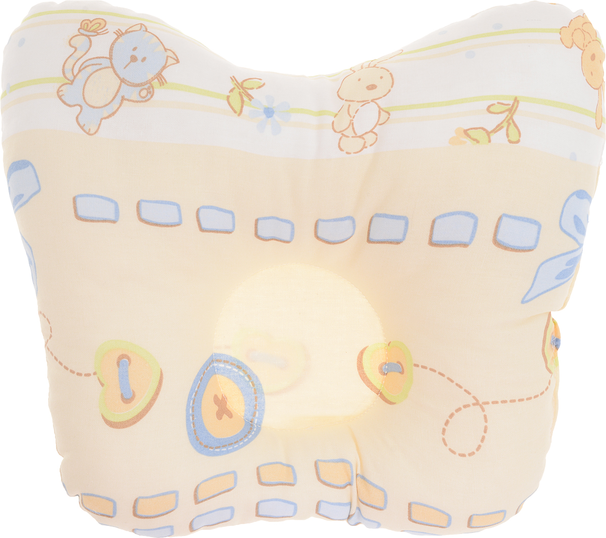 """Анатомическая подушка для младенцев Сонный гномик """"Заяц и кот"""" компактна и удобна для пеленания малыша и кормления на руках, она также незаменима для сна ребенка в кроватке и комфортна для использования в коляске на прогулке. Углубление в подушке фиксирует правильное положение головы ребенка.Подушка помогает правильному формированию шейного отдела позвоночника."""