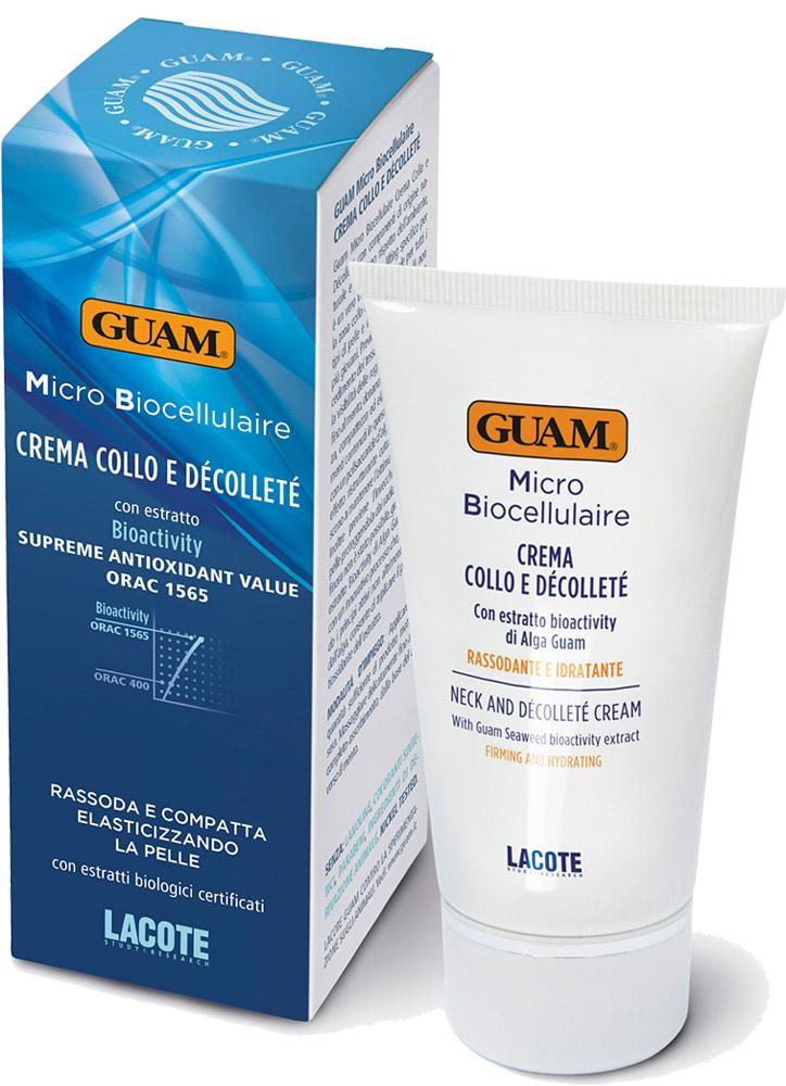 Guam Крем для области шеи и декольте Micro Biocellulaire 75 мл1007ПОДТЯГИВАЕТ И ПОВЫШАЕТ ЭЛАСТИЧНОСТЬ Это настоящий лифтинг-уход разработанный специально для зоны шеи и декольте, идеально подходит для всех типов кожи, особенно для чувствительной немолодой кожи. Предотвращает увядание и борется с признаками ослабления тканей кожи, сокращает видимые морщины от основания шеи до подбородка, придает коже мягкость, упругость и эластичность. Микроэлементы, содержащиеся в креме в сочетании с полисахаридами бурых водорослей, восстанавливают кожу и помогают сохранить оптимальный уровень увлажнения.