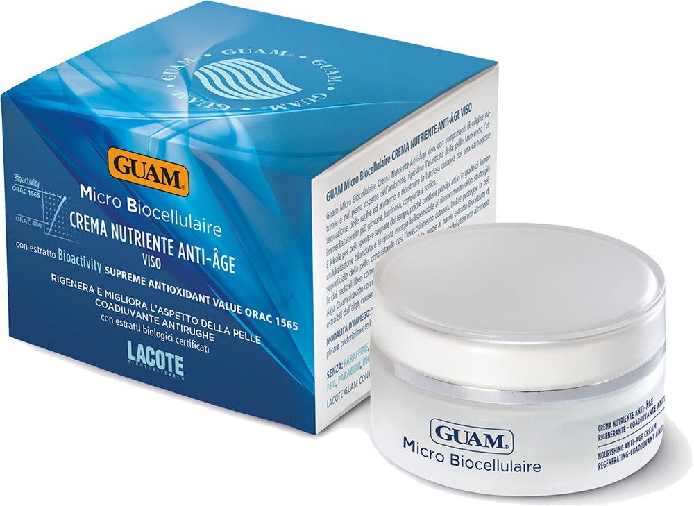 Guam Питательный крем Micro Biocellulaire 50 мл1113Восстанавливает эластичность кожи, разглаживает морщины, восстанавливает естественные защитные функции кожи, улучшает цвет лица. Идеально подходит для тусклой и поблекшей кожи, так как содержит активные ингредиенты, обеспечивающие сбалансированное увлажнение и дарящие энергию. Крем содержит вещества, отвечающие за регенерацию поверхностных слоев кожи, что замедляет старение. улучшает цвет лица, кожа становитсяболее молодой, сияющей.