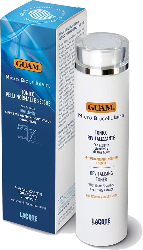 Guam Тоник для нормальной кожи Micro Biocellulaire 200 мл1076Этот тоник-лосьон освежает кожу, деликатно удаляет следы загрязнений, оставляя кожу с ощущением глубокого увлажнения. Активные ингредиенты стимулируют укрепление естественного защитного барьера кожи, противодействуют покраснениям и минимизируют несовершенства кожи. Кожа становится более гладкой, плотной, мягкой и свежей.