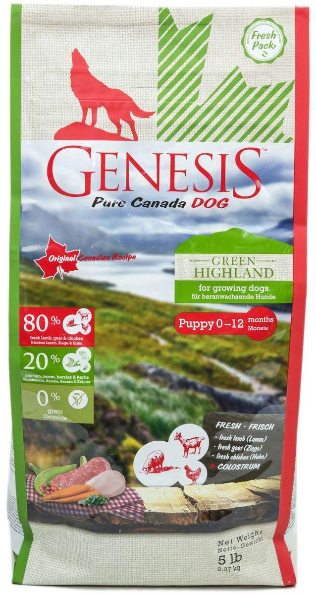 Корм сухой Genesis Pure Canada Green Highland для щенков, юниоров, беременных и кормящих собак, с курицей, козой и ягненком, 2,27 кг509802268Корм сухой Genesis Pure Canada Green Highland - полнорационный беззерновой корм класса холистик с курицей, козой и ягненком для щенков, юниоров, беременных и кормящих взрослых собак всех пород.С начала времен основным компонентом рациона собаки в дикой природе было мясо и рыба. В их естественной среде дикие собаки также употребляли разнообразные фрукты, овощи и травы. Сейчас собака, точно также как и его дикий предок, жаждет пищи, богатой мясом. Диетологи из Genesis Pure Canada подготовили специальную рецептуру для вашей собаки, взяв за основу рацион диких собак. В рецептуре кормов содержится 80% животного белка (из свежего мяса и рыбы), 20% фруктов, овощей, трав и витаминов и 0% зерна.Продукт отличается простотой состава, в него включены высококачественные ингредиенты, которые нужны собаке для здорового развития. Genesis Pure Canada Dog использует уникальную смесь свежих источников белка, чтобы ваша собака могла получить витамины и питательные вещества, которые содержатся в мясе. Диаметр гранулы: 12 мм. Состав: свежая курица (минимум 56%), белок из мяса кур (дегидратированный, минимум 12,5%), кормовые бананы (плантан) (сушеные, минимум 9,2%), свежее мясо коз (минимум 6%), морковь (сушеная, минимум 4%), сухое обезжиренное молоко (минимум 2%), свежее мясо ягненка (минимум 2%), чечевица (сушеная), нут (сушеный), гидролизованный протеин, семена подорожника, льняное семя, молозиво (минимум 0,3%), черника (сушеная, минимум 0,1%), клюква (сушеная), экстракт зеленой мидии (сушеные, минимум 0,1%), дикая крапива (сушеная), листья ежевики (сушеные), тысячелистник (сушеный), фенхель (сушеный, минимум 0,02%), тмин (сушеный), цветки ромашки (сушеные, минимум 0,02%), омела (сушеная), корень горечавки (сушеный), золототысячник обыкновенный (сушеный).Питательные вещества: белок 35%, жир 18%, клетчатка 2%, зола 7,5%, кальций 1,4%, фосфор 1,1%, 