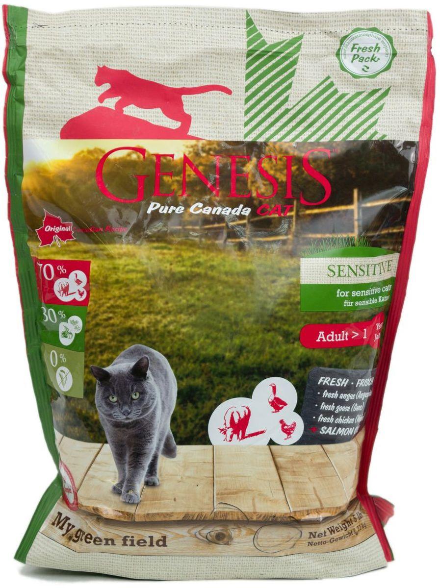 Корм сухой Genesis Pure Canada My Green Field Sensitive для взрослых кошек с чувствительным пищеварением, с говядиной, гусем и курицей, 2,27 кг куртка canada goose montebello parka