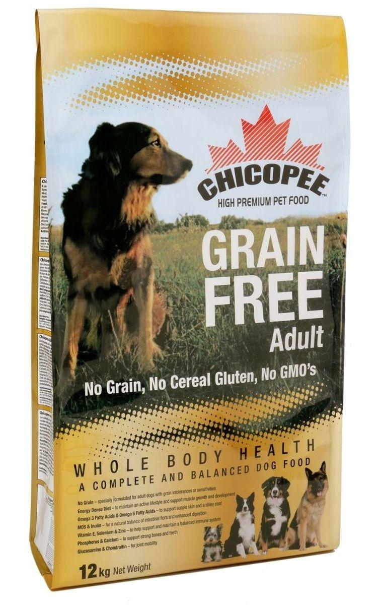 Корм сухой Chicopee для взрослых собак с пищевой аллергией или слабым пищеварительным трактом, беззерновой, 12 кг55690012Собака, страдающая пищевой аллергией или слабым пищеварительным трактом, нуждается в полноценном и сбалансированном питании, не содержащим аллергена — вещества, которое вызывает неприятные симптомы болезни. Именно в таких случаях, для собак идеально подойдет беззерновой корм Chicopee.Как следует из названия, беззерновой корм для собак всех пород не содержит злаков, но имеет в своем составе альтернативный источник углеводов — сушёный горох и картофель. Таким образом, исключенный из рациона продукт, вызывающий аллергию или сложности с пищеварением, восполняется ингредиентом, равноценным по питательной ценности и пищевым качествам.Главные преимущества беззернового рациона Chicopee:Отсутствие глютена (протеина, содержащегося в злаках), который разрушает ворсинки в тонком кишечнике собаки, приводя к недостаточному впитываю питательных веществ.Сушеный горох и пульпа сахарной свеклы, содержащиеся в корме, являются полноценными источниками растительного белка, а также богаты пищевыми волокнами, витаминами и минеральными веществами, улучшающими работу ЖКТ.Значительное содержание животных белков обеспечивает длительное чувство сытости у собаки и поддержание ее физической формы за счет увеличения мышечной массы и усиления защитных функций организма.Маннановые олигосахариды и инулин улучшают баланс кишечной микрофлоры и всасываемости питательных веществ, в результате нормализуется работа всей пищеварительной системы.Так же благодаря пивным дрожжам и рыбьему жиру улучшается состояние кожи животного, восстанавливается его шерстный покров, волосы при этом становятся более крепкими и блестящими.Ингредиенты: мука из мяса домашней птицы, картофельная мука, сушеный горох, жир домашней птицы, свекловичный жом, яичный порошок, рыбная мука, гидролизат белка, рыбий жир, сухие дрожжи, поваренная соль, корень цикория (инулин 0,10%), дрожжевой экстракт (МОS 0,10%), глюкоза