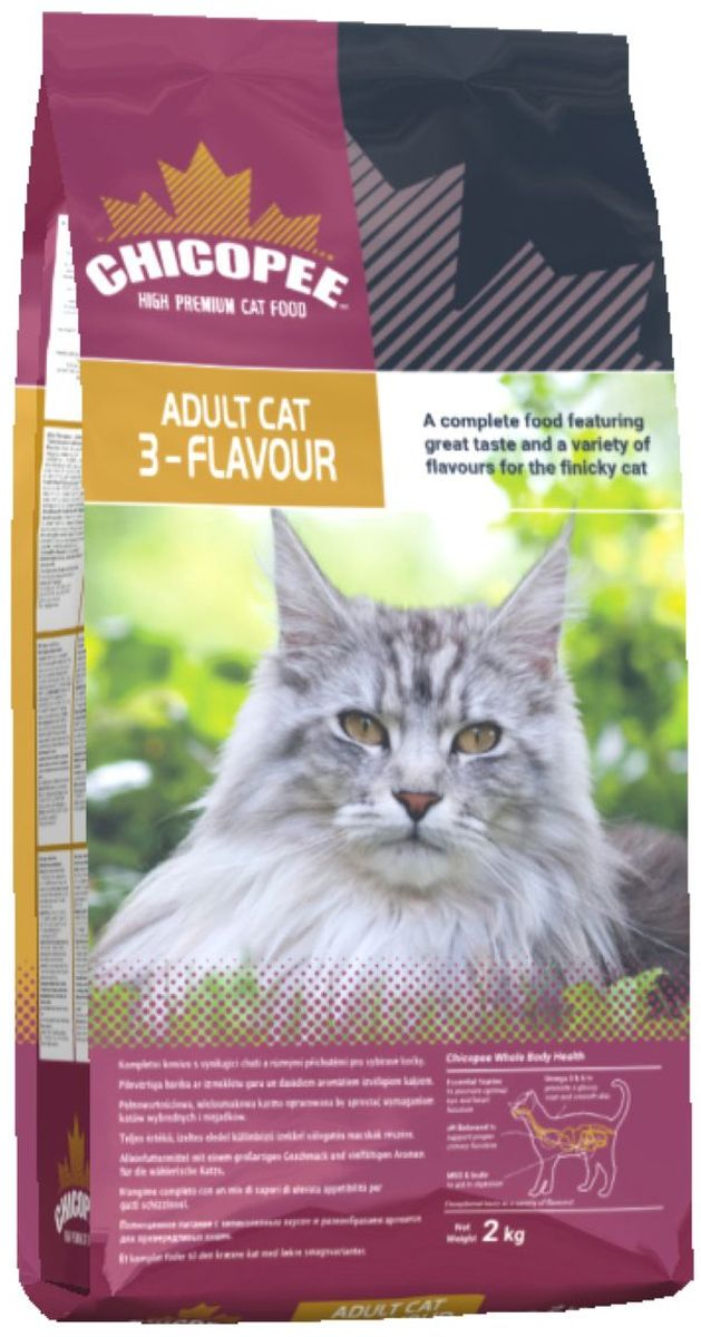Корм сухой Chicopee 3-Flavour для привередливых кошек, с рыбой, свининой и птицей, 2 кг 3 pauly мука цена