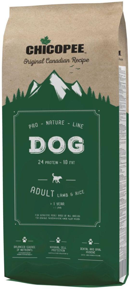 """Корм сухой Chicopee """"Pro Nature"""" для взрослых чувствительных собак, с ягненком и рисом, 20 кг"""