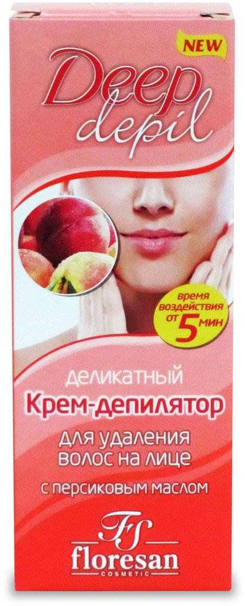Floresan Deep Depil Деликатный крем для удаления волос на лице с маслом персика, 50 мл66-Ф-126Floresan DEEP DEPIL Деликатный крем для удаления волос на лице с маслом персика 50 мл ыстро и деликатно удаляет нежелательные волосы на лице. Масло персика, входящее в состав крем – депилятора, ухаживает за кожей, смягчает ее и предупреждает появление покраснений и раздражений на чувствительной коже лица.