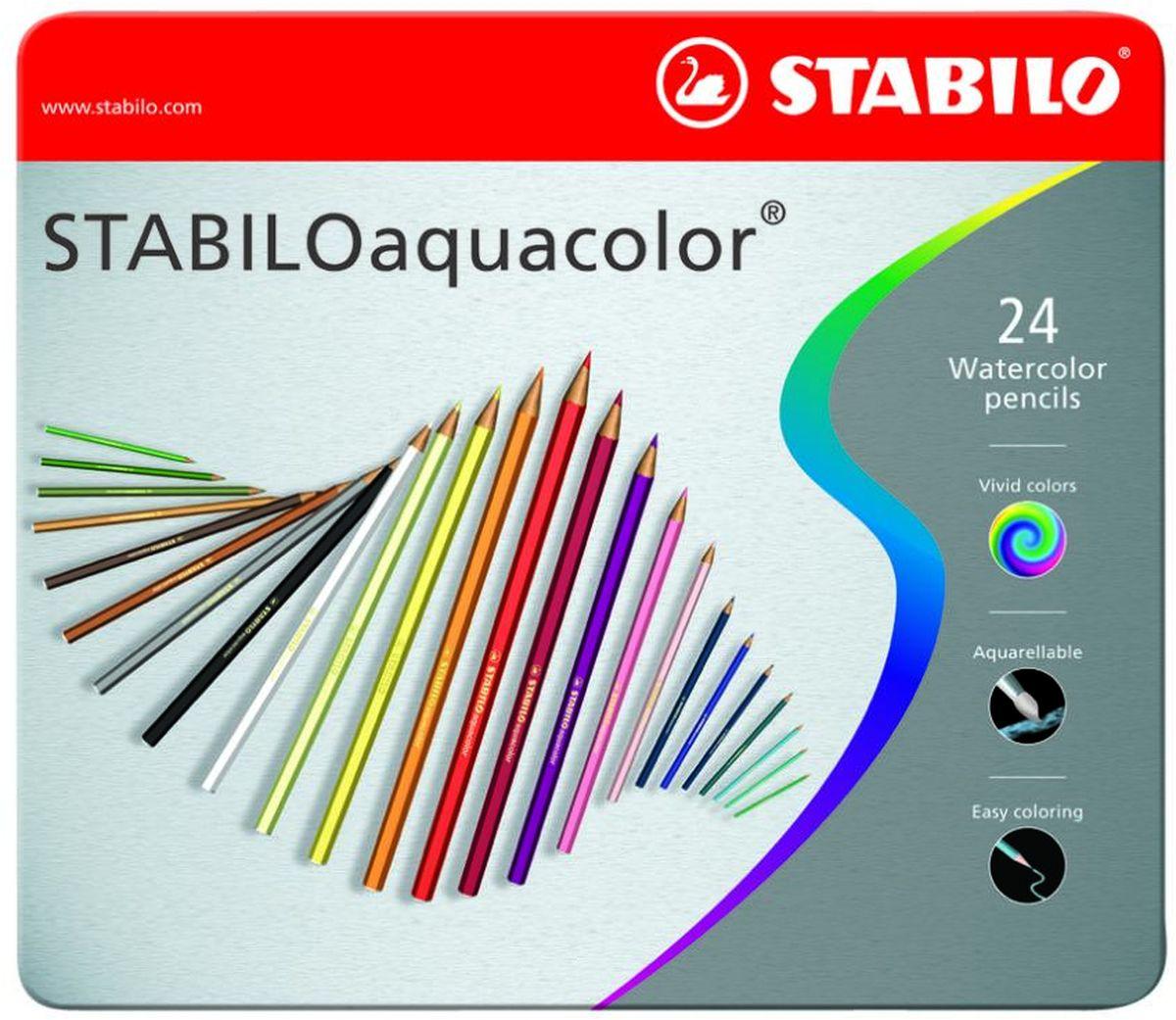 STABILO Набор акварельных карандашей Aquacolor 24 цвета1624-5Для создания рисунков с эффектом акварельных красок, надо растушевать рисунок кистью с водой или увлажнить бумагу перед рисованием. Идеально подходит для рисования в качестве классического цветного карандаша благодаря насыщенным цветам и мягкому грифелю, обеспечивающему легкость нанесения и отличную смешиваемость цветов.
