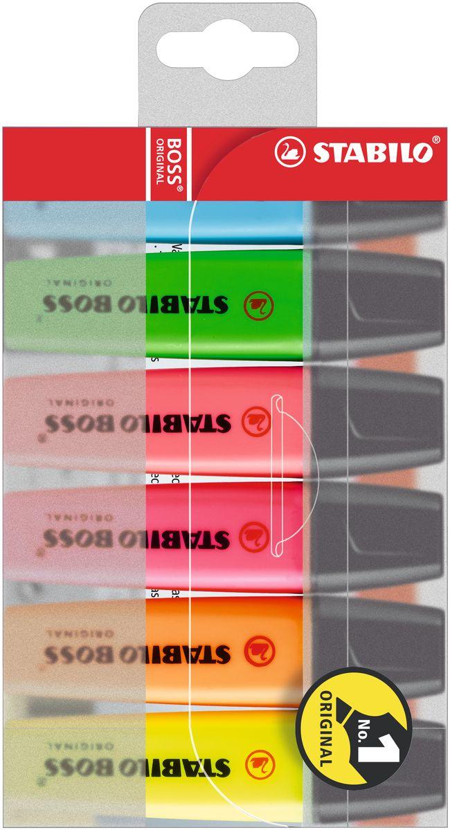Stabilo Набор маркеров Boss Original 6 цветов70/6Легендарный набор маркеров Stabilo Boss Original - № 1 в Европе среди текстовыделителей!Превосходство по качеству: Корпус: полипропилен (предотвращает высыхание чернил) Наконечник: фетр (оптимальное соотношение мягкости-жесткости, устойчивость к деформации, равномерная подача чернил, аккуратный внешнийвид) Не высыхают без колпачка 4 часа Универсальные: для бумаги любой плотности Чернила на водной основе (прозрачность, четкость, флуоресцентность, высокая светостойкость)Увеличенная длина линии (большой объем чернил, высокое качество красителя, равномерность подачи чернил)