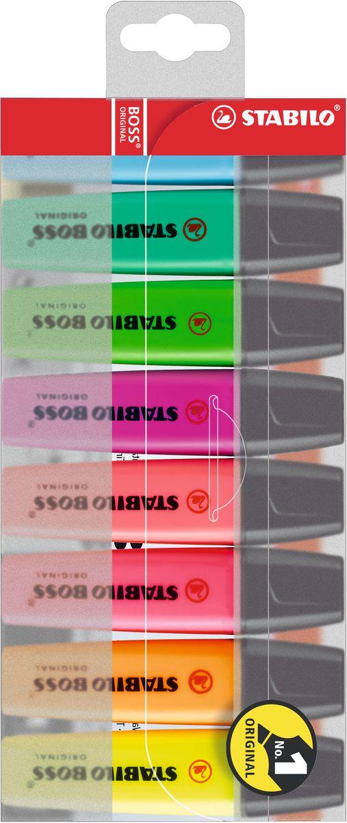 Stabilo Набор маркеров Boss Original 8 цветов70/8Легендарный набор маркеров Stabilo Boss Original - № 1 в Европе среди текстовыделителей!Превосходство по качеству: Корпус: полипропилен (предотвращает высыхание чернил) Наконечник: фетр (оптимальное соотношение мягкости-жесткости, устойчивость к деформации, равномерная подача чернил, аккуратный внешнийвид) Не высыхают без колпачка 4 часа Универсальные: для бумаги любой плотности Чернила на водной основе (прозрачность, четкость, флуоресцентность, высокая светостойкость)Увеличенная длина линии (большой объем чернил, высокое качество красителя, равномерность подачи чернил)