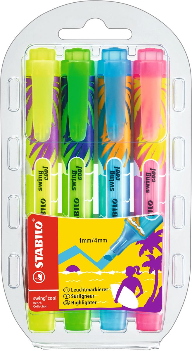 Stabilo Набор маркеров Swing Cool Beach 4 цвета275/4-04Набор маркеров Stabilo Swing Cool Beach - утонченный текстовыделитель. Единственный карманный текстовыделитель, имеющий 8 флуоресцентных цветов. Усиленный наконечник. Время, которое может находиться без колпачка – 4 часа. Классические цвета корпуса, которые совпадают с цветом чернил.
