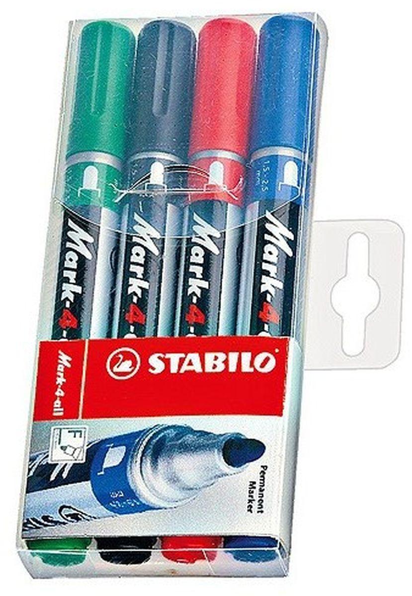 Stabilo Набор перманентных маркеров Mark 1,5-2,5 мм 4 цвета651/4Заправляемый маркер Stabilo Mark с несмываемыми чернилами. Круглый наконечник позволяет проводить линии толщиной от 1,5 до 2,5 мм. Для рисования и маркировки практически на любых поверхностях. Надписи мгновенно высыхают и не размазываются. Высокая морозостойкость, светостойкость и влагостойкость чернил. Чернила на спиртовой основе обладают нейтральным запахом.