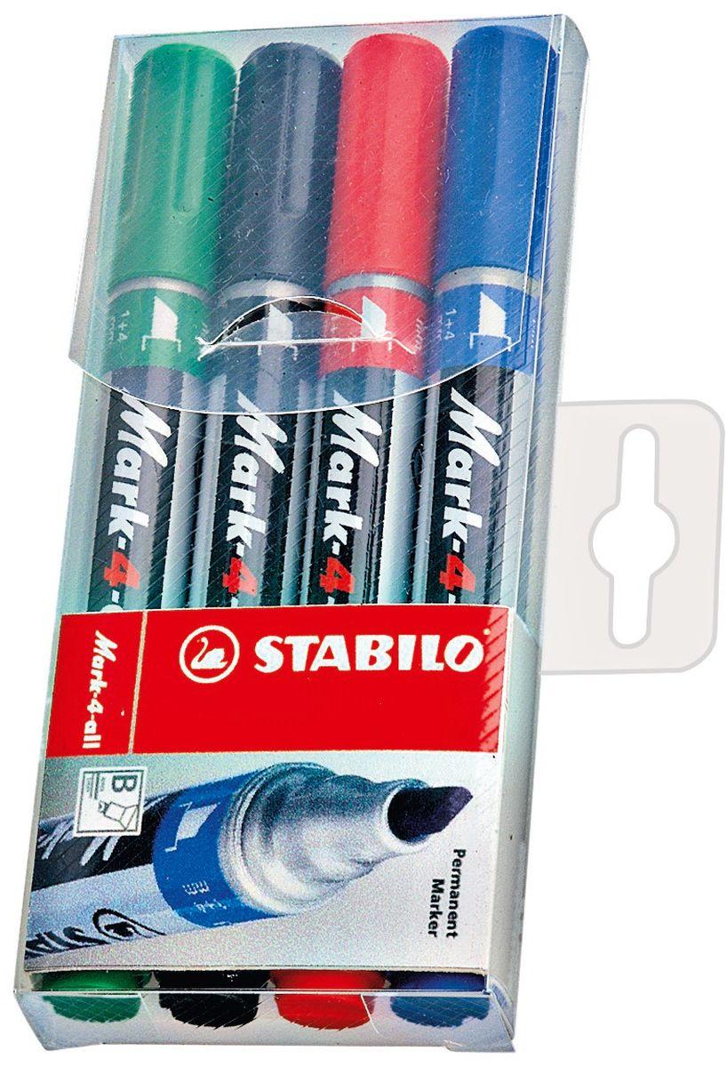 Stabilo Набор перманентных маркеров Mark 1-4 мм 4 цвета653/4Заправляемый маркер Stabilo Mark со скошенным наконечником. Несмываемые чернила. Для рисования и маркировки практически на любых поверхностях. Надписи мгновенно высыхают и не размазываются. Высокая морозостойкость, светостойкость и влагостойкость чернил. Чернила на спиртовой основе обладают нейтральным запахом. Скошенный наконечник позволяет проводить линии толщиной от 1 до 4 мм.