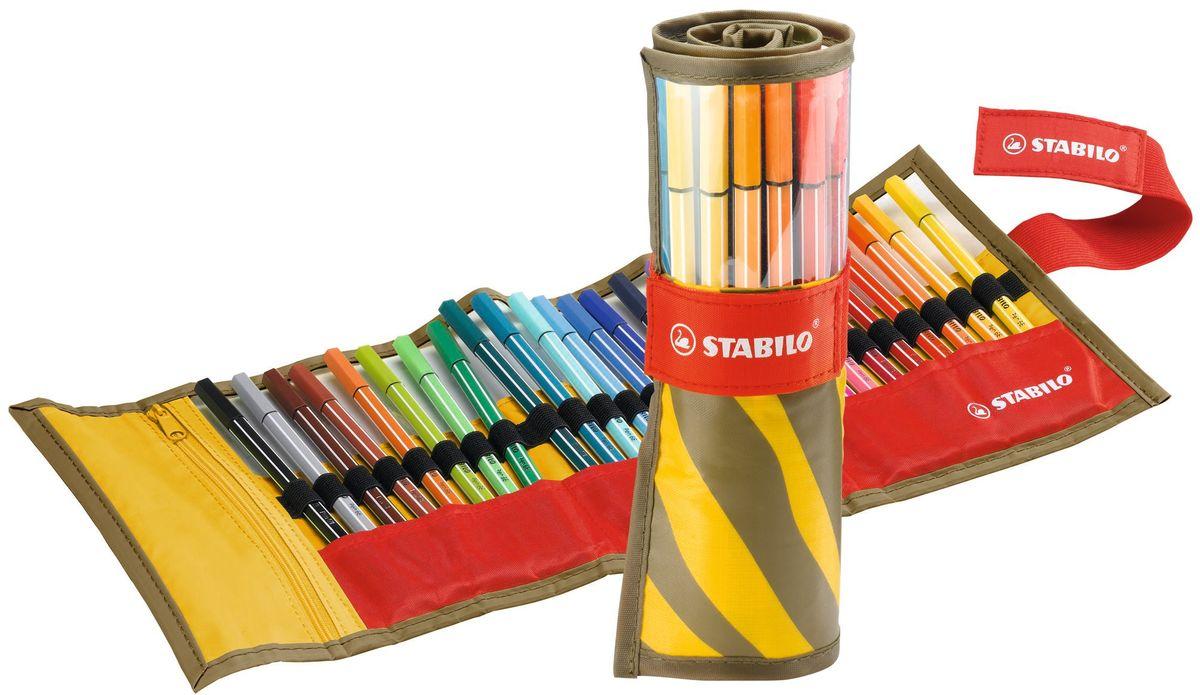 Stabilo Набор фломастеров Be Wild 25 цветов6825-051Профессиональные ручки самого высокого качества. Эти ручки предназначены и для профессиональных художников, и для любителей. Износостойкий, очень прочный наконечник устойчив к любой силе нажима, сохраняет свою форму и равномерно наносит чернила. Богатая гамма ярких и насыщенных цветов с самой высокой светостойкостью дает возможность для творческих поисков. Чернила на водной основе не имеют запаха. Не высыхают без колпачка 24 часа.Толщина линии: 1 мм.Набор ручек 25 цветов в красочном нейлоновом разворачивающемся чехле.