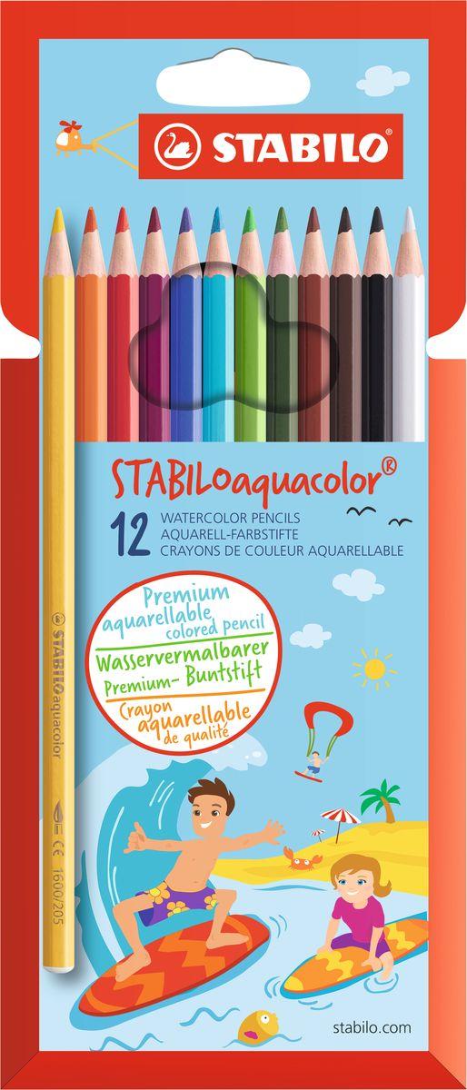 STABILO Набор акварельных карандашей Aquacolor 12 цветов1612-6Для создания рисунков с эффектом акварельных красок, надо растушевать рисунок кистью с водой или увлажнить бумагу перед рисованием. Идеально подходит для рисования в качестве классического цветного карандаша благодаря насыщенным цветам и мягкому грифелю, обеспечивающему легкость нанесения и отличную смешиваемость цветов.