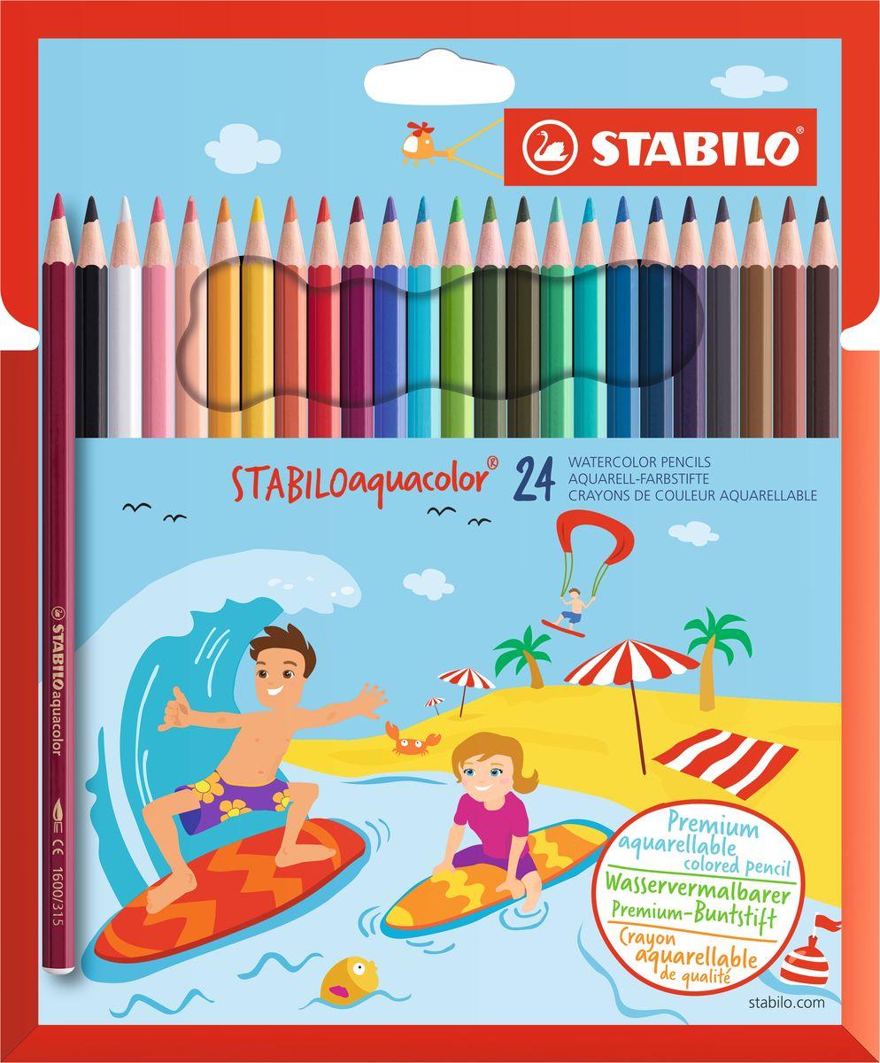 STABILO Набор акварельных карандашей Aquacolor 24 цвета1624-6Для создания рисунков с эффектом акварельных красок, надо растушевать рисунок кистью с водой или увлажнить бумагу перед рисованием. Идеально подходит для рисования в качестве классического цветного карандаша благодаря насыщенным цветам и мягкому грифелю, обеспечивающему легкость нанесения и отличную смешиваемость цветов.
