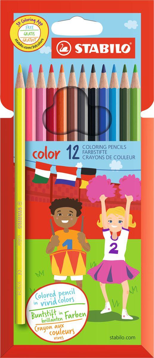 Stabilo Набор цветных карандашей Color 12 цветов1912/77-01Цветные карандаши Stabilo серии Color обеспечивают легкую смешиваемость красок и мягкие, однородные по цвету линии. Высокая степень пигментации гарантирует особую яркость цвета, исключительную покрывающую способность и высокую устойчивость к свету. В наборе есть 2 флуоресцентных карандаша, которые добавляют больше возможностей для воображения юному художнику. В состав грифелей входит пчелиный воск, благодаря чему грифели легко рисуют на бумаге, не царапая ее и не крошась, и обладают повышенной устойчивостью к нагрузкам. Карандаши не ломаются при рисовании и затачивании. Корпус карандашей покрыт лаком на водной основе, легко и аккуратно затачивается.