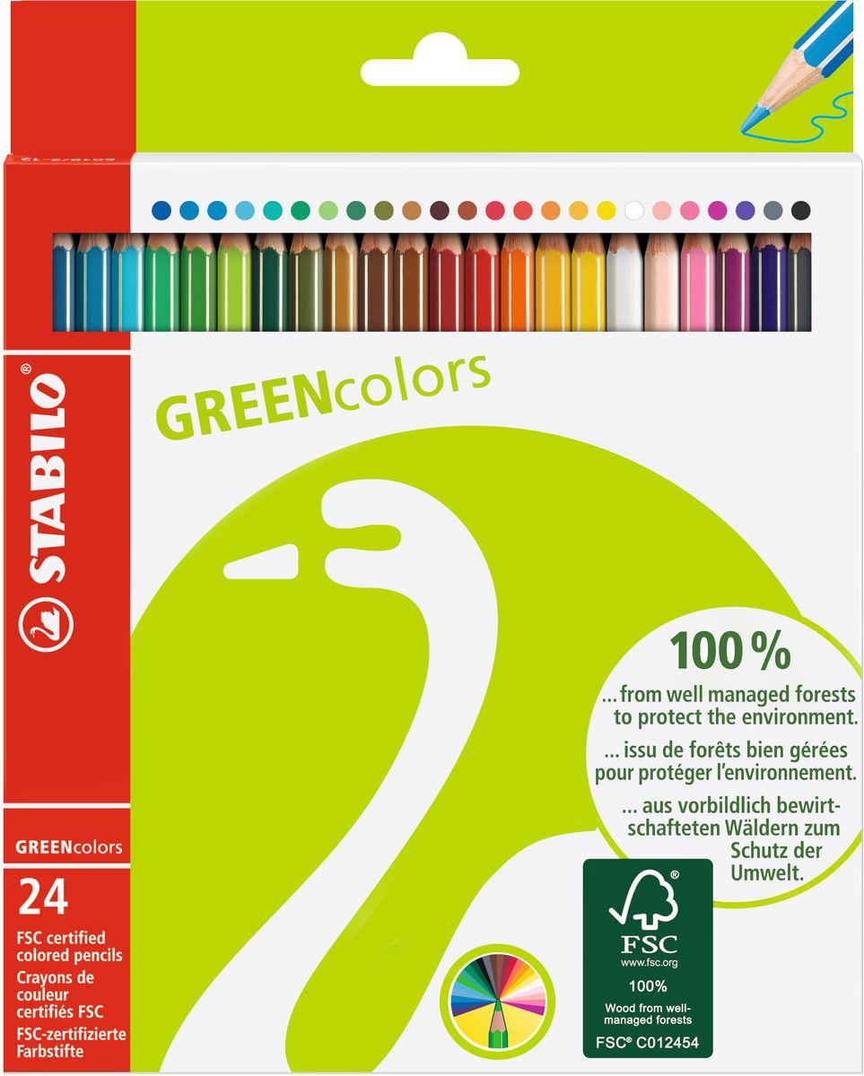 STABILO Набор цветных карандашей Green Colors 24 шт6019/2-24Экотовары - перспективное направление и действенный способ повышения лояльности к продукции. Знак FSC, которым отмечена Зеленая серия STABILO - это надежный критерий для выбора покупателями качественной, экологически безопасной продукции, так как гарантирует контроль источника древесины. У товаров этой серии современный, соответствующий своей идее дизайн упаковки.Цветные карандаши обеспечивают легкую смешиваемость красок и мягкие, однородные по цвету линии. Высокая степень пигментации гарантирует особую яркость цвета, исключительную покрывающую способность и высокую устойчивость к свету. В состав грифелей входит пчелиный воск, благодаря чему грифели легко рисуют на бумаге, не царапая ее и не крошась, и обладают повышенной устойчивостью к нагрузкам.Карандаши не ломаются при рисовании и затачивании. Корпус карандашей покрыт лаком на водной основе, легко и аккуратно затачивается.