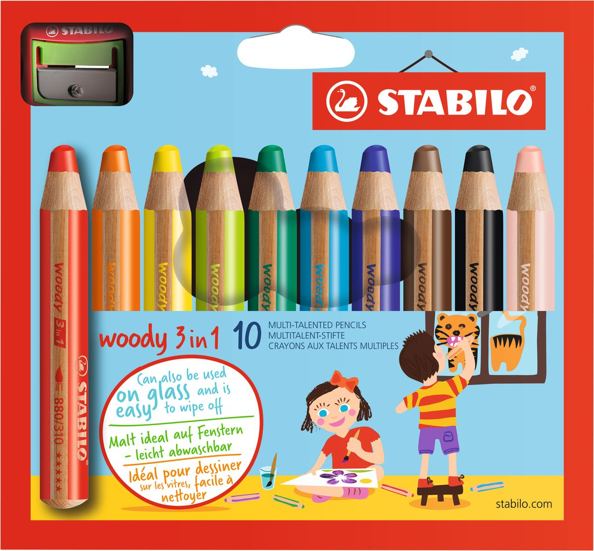 Stabilo Набор цветных карандашей Woody 3 in 1 10 цветов + точилка stabilo 880 woody 3 in 1 multipurpose pencils water color pencils crayon brushes assorted color 6 18 colors