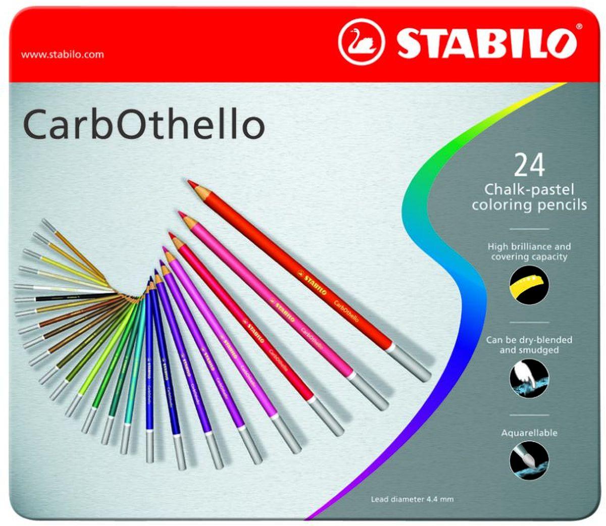 Stabilo Пастель CarbOthello 24 цвета1424-6Цветная пастель в виде деревянного карандаша. Деревянная оболочка карандашазащищает хрупкую сердцевину - пастельный мелок, способный передатьбесподобную свежесть и выразительность красок. Мягкий грифель позволяетрисовать даже на очень тонкой бумаге. Можно использовать как акварельныекарандаши. Цветная пастель идеально подходит для смешивания цветов.Исключительная насыщенность цвета позволяет добиться великолепныхрезультатов даже на темном фоне. Набор в металлической коробке.