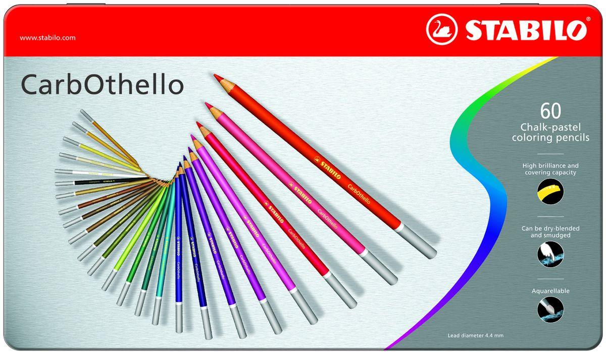 Stabilo Пастель CarbOthello 60 цветов1460-6Цветная пастель Stabilo в виде деревянного карандаша. Деревянная оболочка карандаша защищает хрупкую сердцевину - пастельный мелок, способный передать бесподобную свежесть и выразительность красок. Мягкий грифель позволяет рисовать даже на очень тонкой бумаге. Можно использовать как акварельные карандаши. Цветная пастель идеально подходит для смешивания цветов. Исключительная насыщенность цвета позволяет добиться великолепных результатов даже на темном фоне. Набор в металлической коробке.