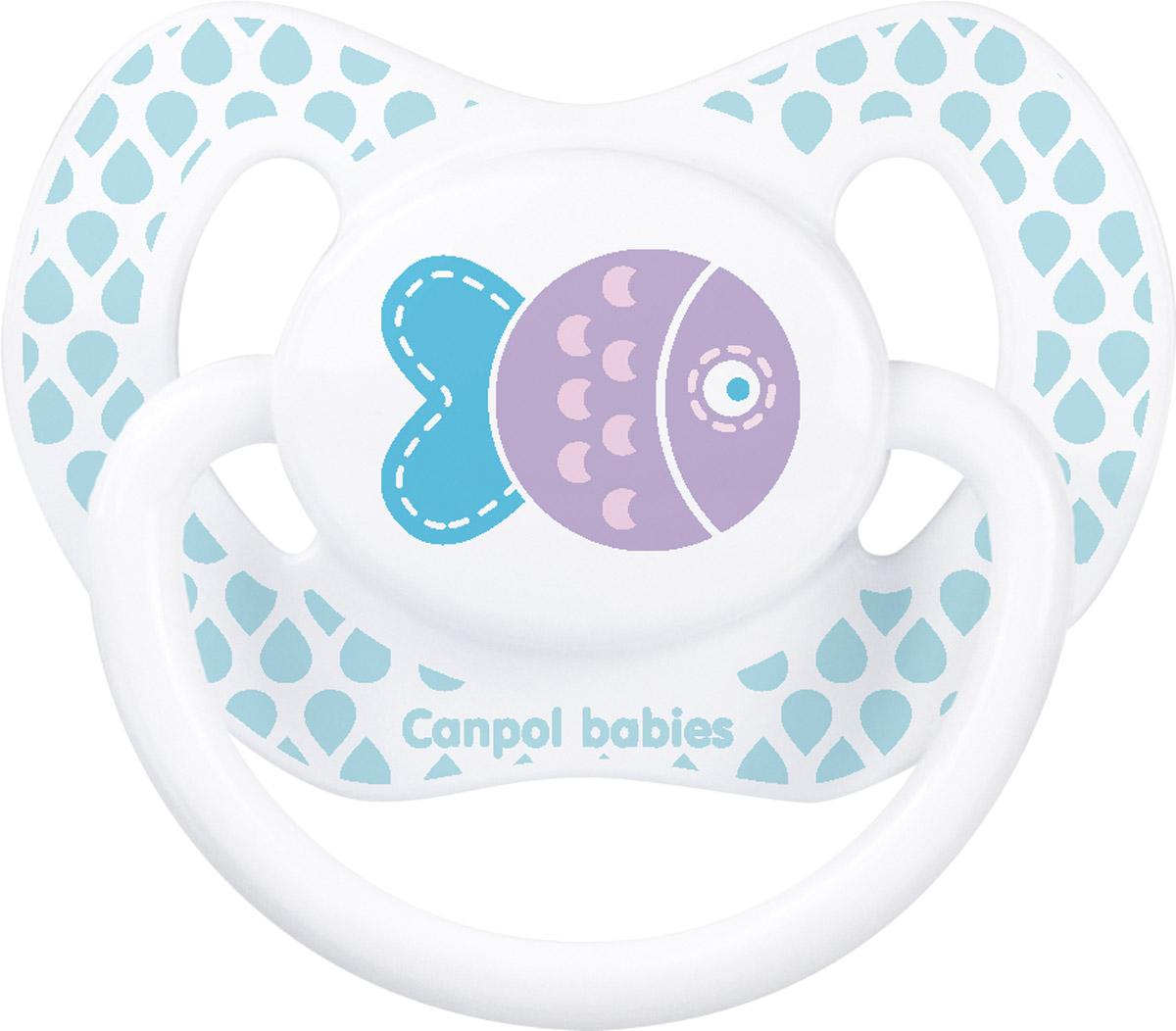 Canpol Babies Пустышка силиконовая ортодонтическая Рыбка от 0 до 6 месяцев пустышки nuk ортодонтическая силиконовая baby rose размер 2 6 18 мес