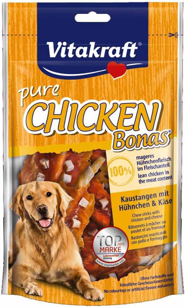 Лакомство Vitakraft, для собак, палочки с курицей и сыром, 80 г16629Лакомство для собак Vitakraft в виде жевательных косточек с курицей и сыром идеально подходит в качестве дополнения к основному рациону.Состав: 65% куриные мясо, сыр, кожа сыромятная, растительные экстракты, минералы.