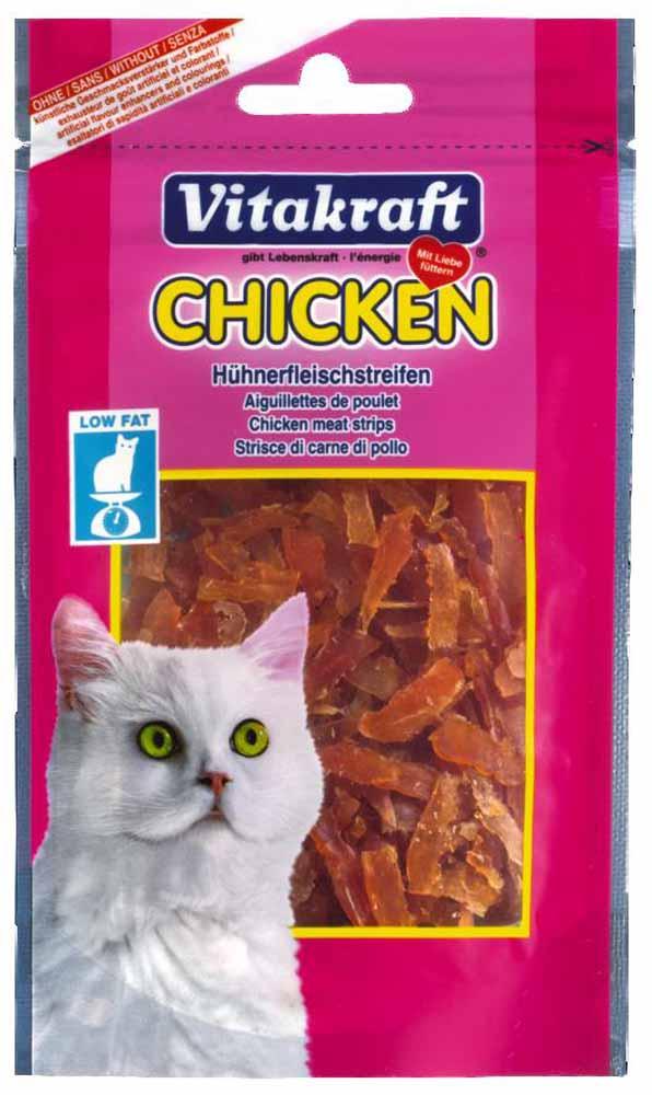 Лакомство Vitakraft, для кошек, соломка куриная, 50 г корм для птиц vitakraft menu vital для волнистых попугаев основной 1кг