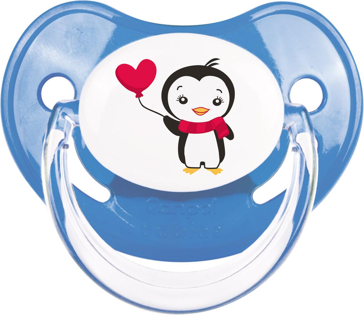Canpol Babies Пустышка силиконовая ортодонтическая Penguins от 0 до 6 месяцев цвет синий