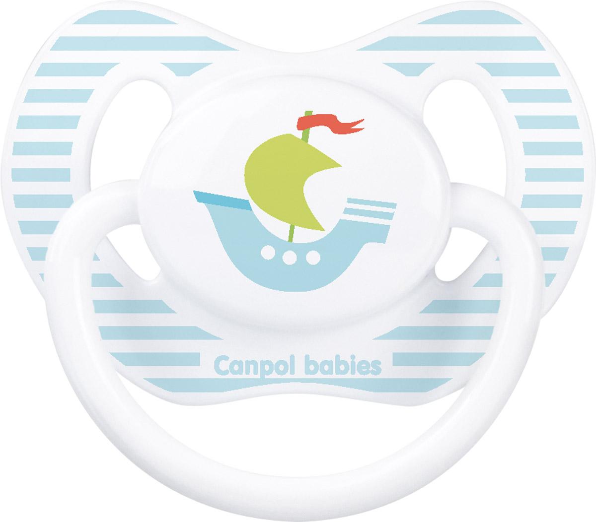 Canpol Babies Пустышка силиконовая ортодонтическая Кораблик от 18 месяцев hevea пустышка ортодонтическая car от 3 месяцев
