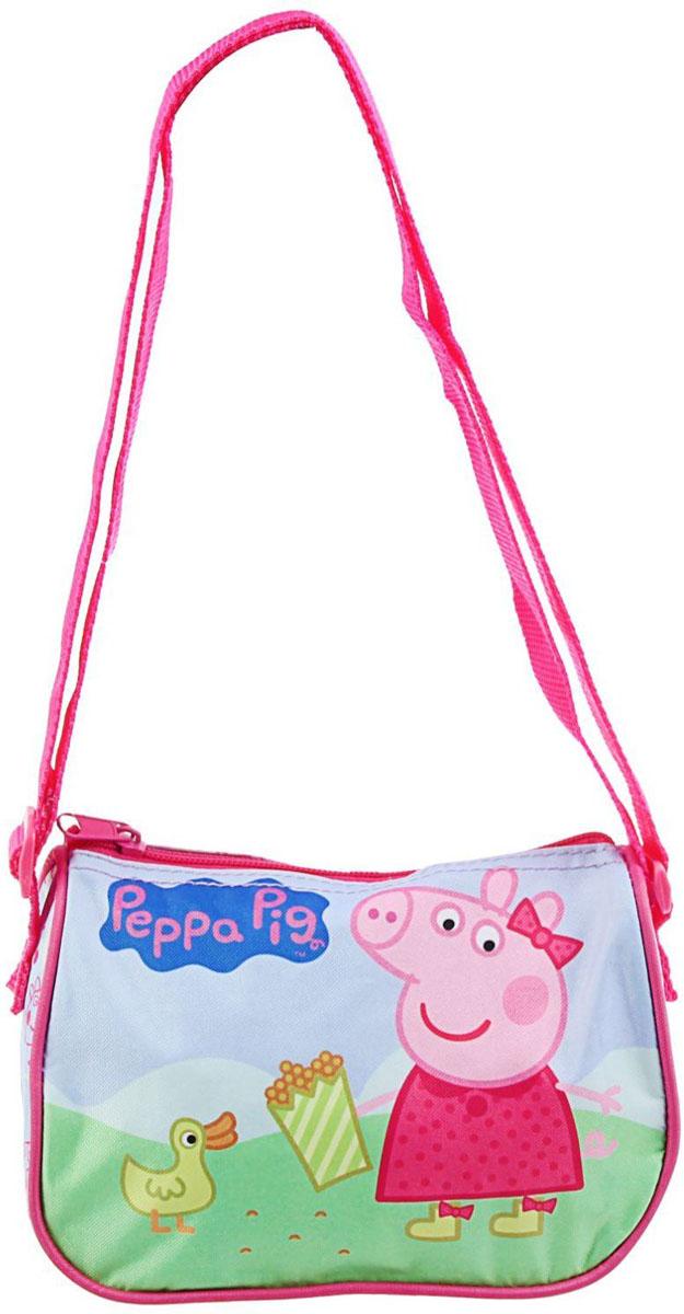 Peppa Pig Сумка детская Утка1392322Маленькие, казалось бы, незначительные элементы зачастую завершают, дополняют образ, подчеркивают статус, стиль и вкус своего обладателя. Сумочка детская - это вещь достойного качества, которая может стать прекрасным подарком по любому поводу. Сумка выполнена из текстиля и имеет одно отделение, закрывающееся на молнию. Плечевой ремень регулируется по длине.