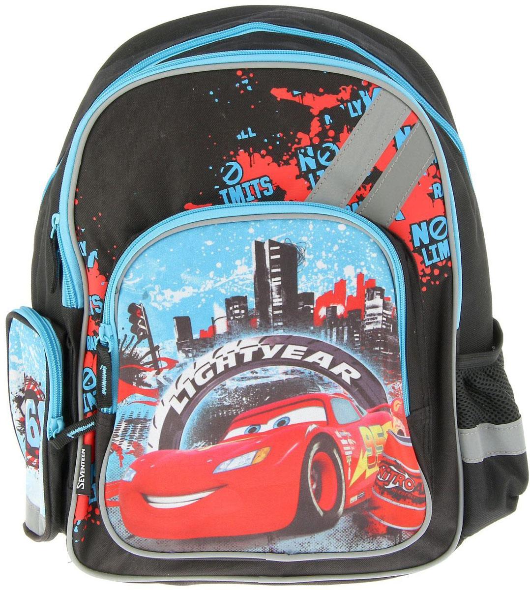 Disney Рюкзак Cars цвет черный1970973Рюкзак Disney Cars станет незаменимым спутником вашего ребенка в походах за знаниями.Рюкзак выполнен из прочного материала и оформлен изображением Молнии МакКуина. Содержит два вместительных отделения на застежках-молниях. Лицевая сторона рюкзака оснащена накладным карманом на застежке-молнии. По бокам рюкзака расположены два кармана (один карман на молнии, другой - на резинке). Ортопедическая спинка равномерно распределяет нагрузку на плечевые суставы и спину. Конструкция спинки дополнена эргономичными подушечками, противоскользящей сеточкой и системой вентиляции для предотвращения запотевания спины ребенка. Мягкие широкие лямки позволяют легко и быстро отрегулировать рюкзак в соответствии с ростом. Рюкзак оснащен прорезиненной ручкой для удобной переноски в руке. Светоотражающие элементы обеспечивают безопасность в темное время суток.