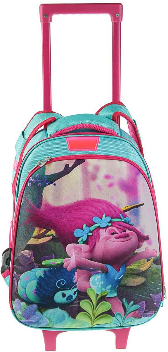 Trolls Рюкзак Тролли цвет розовый бирюзовый2111517Детский рюкзак Trolls имеет не тяжелый вес, поэтому ребенку будет с ним очень удобно.Рюкзак содержит одно главное вместительное отделение на застежке-молнии и один внешний карман на молнии. На лицевой стороне рюкзака изображена героиня мультфильма Тролли - Розочка. Рюкзак имеет петлю для переноски и удобные широкие мягкие лямки. Рюкзак оснащен колесами и выдвигающей ручкой как у чемодана. Это очень удобно, если рюкзак сильно перегружен.Многофункциональный детский рюкзак станет незаменимым спутником вашего ребенка в жизни. Этот рюкзак можно использовать как походный чемодан, так и для учебы.