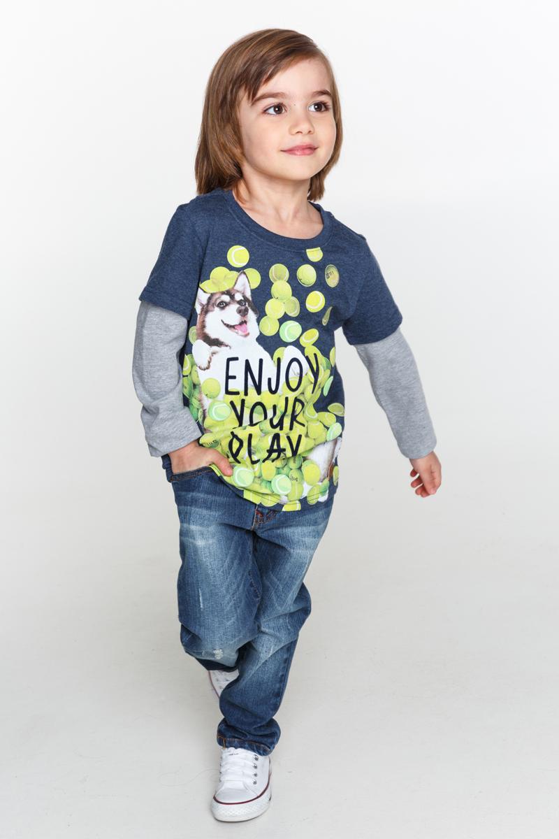 Джемпер для мальчика Acoola Pot, цвет: темно-синий. 20120100083_600. Размер 9820120100083_600Трикотажный джемпер Acoola Pot, имитирующий футболку поверх лонгслива, декорированный ярким принтом спереди. Модель с круглым вырезом горловины и длинными рукавами.